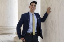 Fordham graduate Erik Angamarca at the Jefferson Memorial