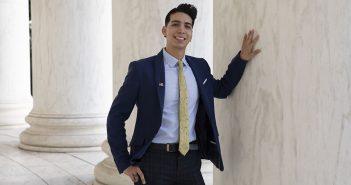 Fordham graduate Erik Angamarca at the Jefferson Memorial