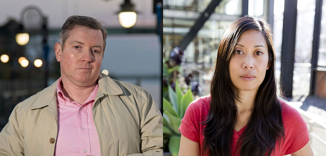 A composite image of investigative journalists Roddy Boyd and Bernice Yeung