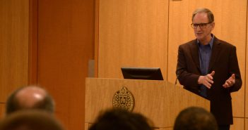 Martin Hellman addresses a crowd of students at the Rose Hill campus