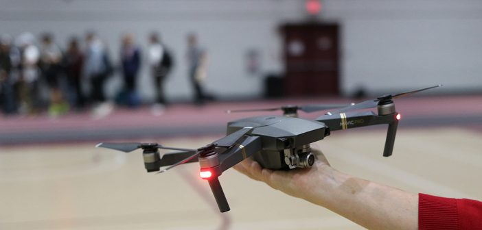DJI Mavic Pro drone being held inside the Lombardi Fieldhouse