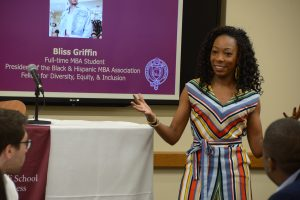 Bliss Griffin speaks to prospective MBA students at the Lincoln Center campus