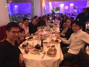 U.S. and China epistemologists eat dinner together at Rosa Mexicano, a restaurant near Lincoln Center campus, on Oct. 19.