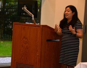 Corrie Kuniyoshi speaks in the South Lounge at the Lincoln Center campus