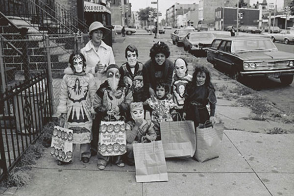 "Group of trick-or-treaters, including ""The Fonz"" (back row, center)"
