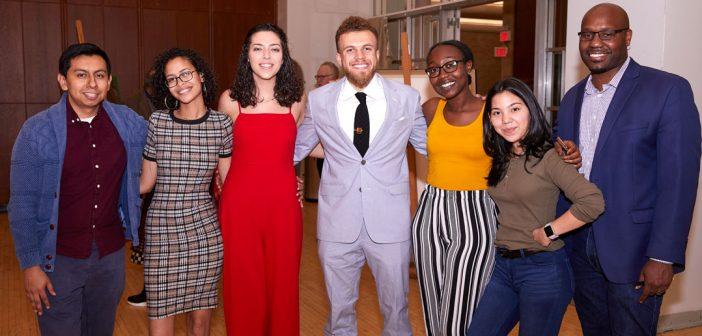 Alumnus Bentley Brown and students