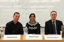 Patrick Verel, Geeta Tewari and David Goodwin sit at a table at Fordham School of Law
