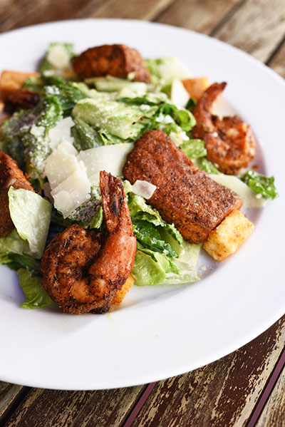 Cajun shrimp and salmon salad