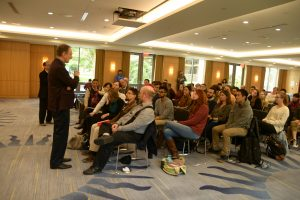 Martin Hellman speaks to a group of students at the Rose Hill campus