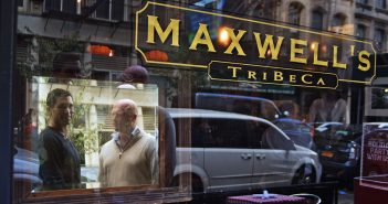Maxwell's Tribeca Co-Owners Alex Tortolani, FCRH '02, and Mike Casey, 'FCRH '96, stand in front of their restaurant.