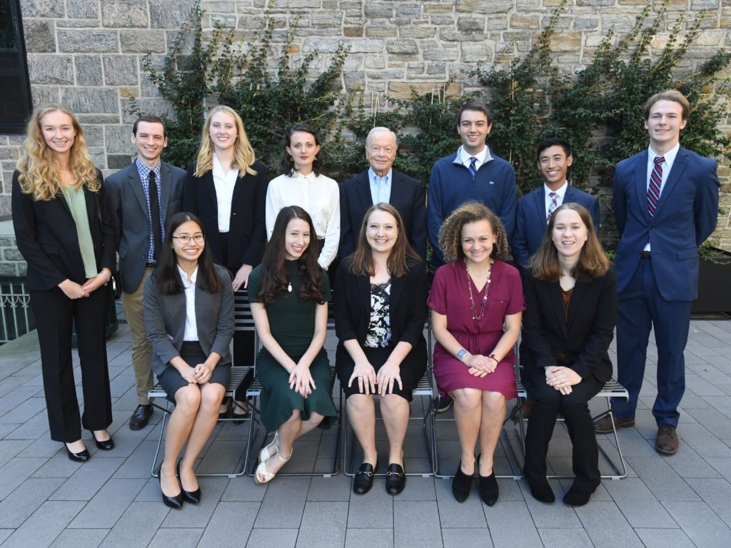The twelve Cunniffe scholars pose for a picture with their benefactor, Maurice Cunniffe.