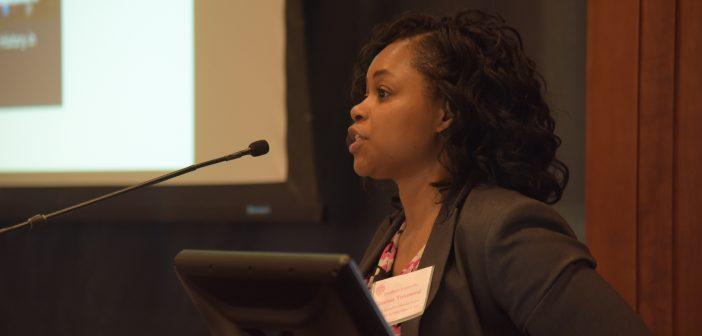 Charissa Townsend speaks at the podium.