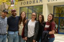 Italisn exchange students standing in front of Fordham's Lincoln Center campus
