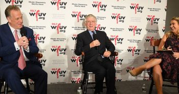 Michael Kay and ted Koppel are interviewed by alumna Sarah Kugel at the WFUV On the Record Benefit