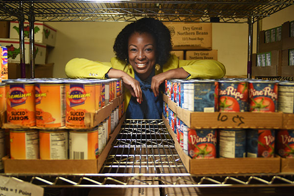 Camesha Grant, vice president of community connections and reach for the Food Bank for New York City, in the pantry at the Food Bank's West Harlem location.