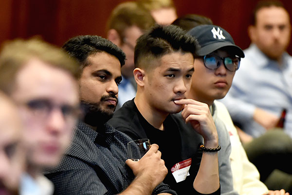 Audience members at Mark Conrad's November 2018 Fordham at the Forefront lecture on sports business