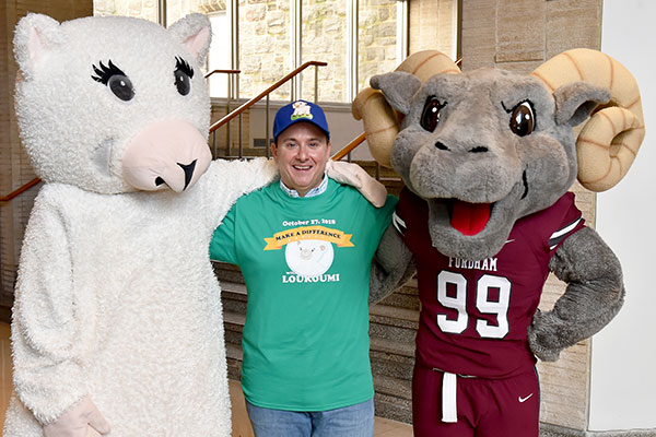 Nick Katsoris with Loukoumi the lamb and the Fordham Ram
