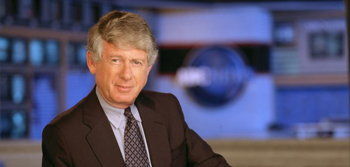Ted Koppel in suit and tie on set of ABC news