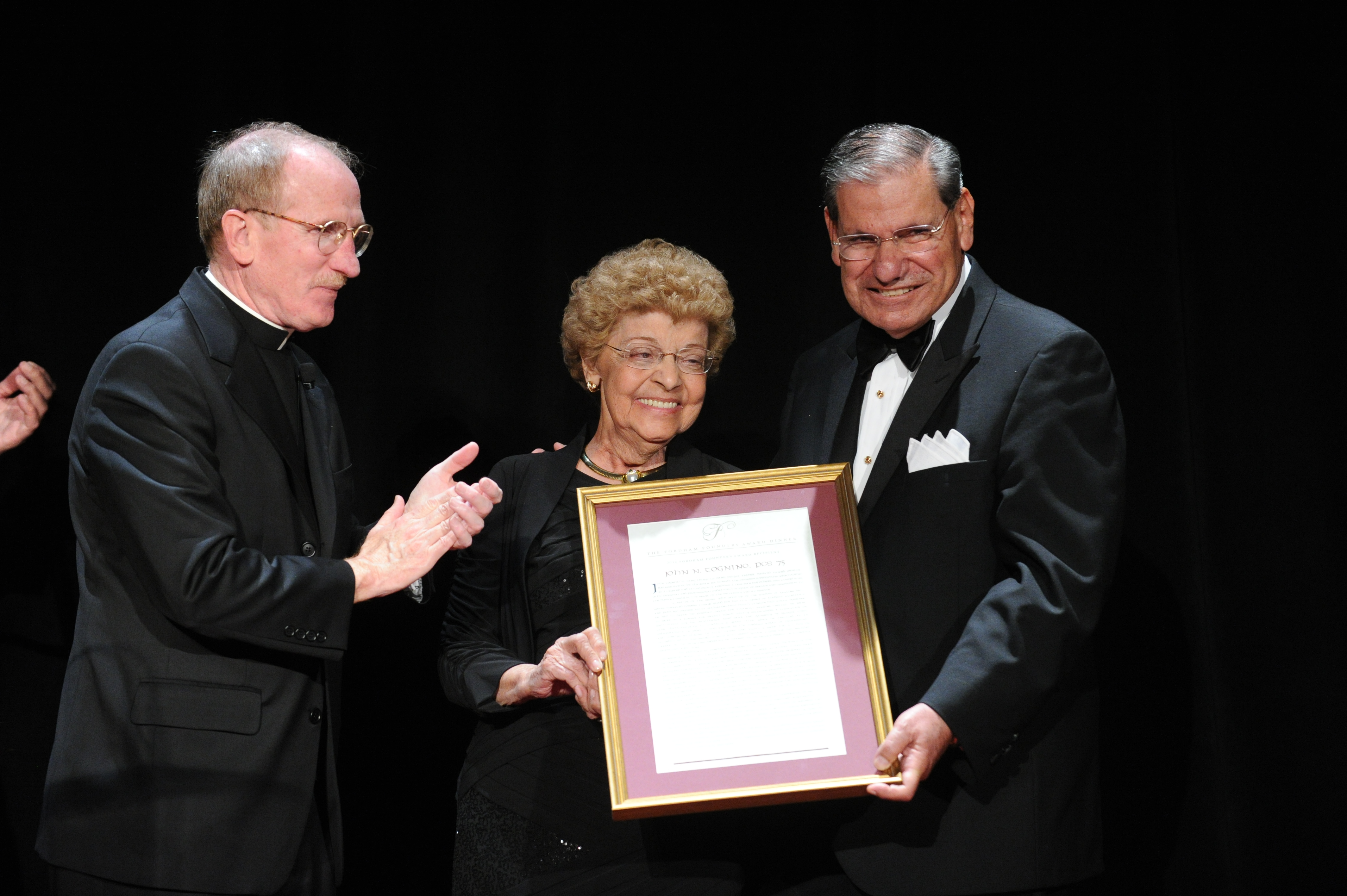 The Togninos as John receives the Fordham Founder's award in 2012