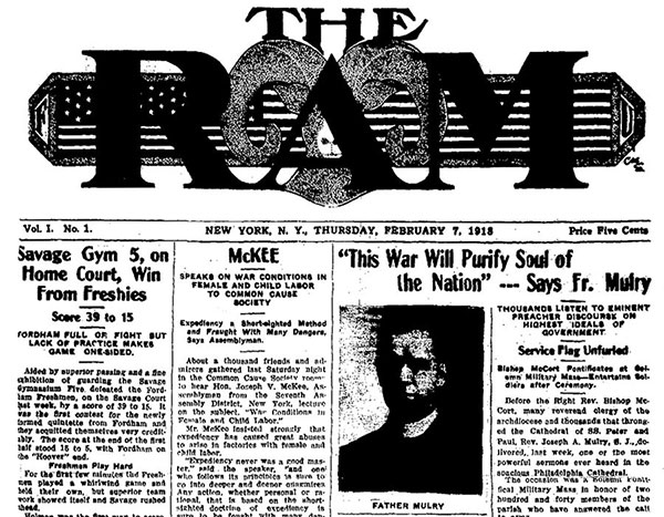 An image of the front page of the very first issue of The Ram student newspaper, published on February 7, 1918