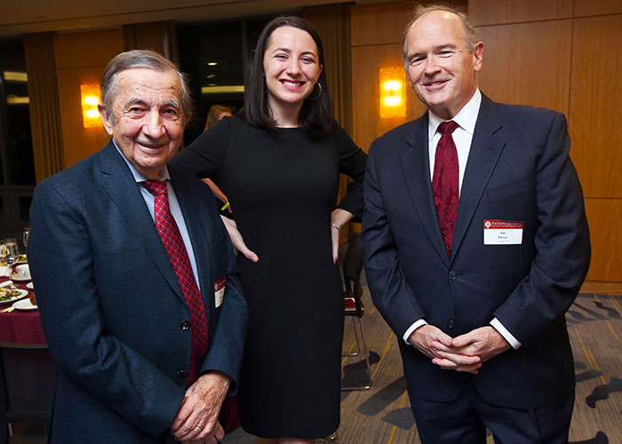 Three Ram editors-in-chief (from left): Louis D. Boccardi, FCRH '58, former CEO of the Associated Press; Theresa Schliep, the current editor; and Jim Dwyer, FCRH '79, Pulitzer Prize-winning writer for The New York Times.