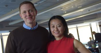 Christopher Dietrich, Ph.D., and Yuko Miki, Ph.D., standing next to each other at the Walsh Library