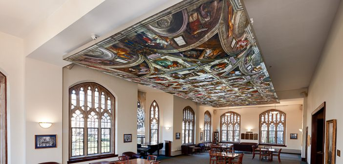 A reproduction of the Sistine Chapel ceiling at Butler Commons on the Rose Hill campus.