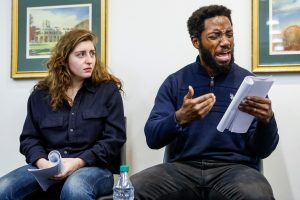 Actors Marjolaine Goldsmith and Chinaza Uche read selections from Sophocles fifth-century play Ajax.