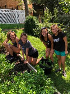 Four students stand together in a garden in the Bronx.