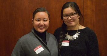 Two women (Michelle Hopson and Ting Yana) standing together at a mentoring event.