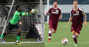 Split picture of Rashid Nuhu catching a ball in front of a goal on the left and Janos Loebe, kicking a ball, on the right.