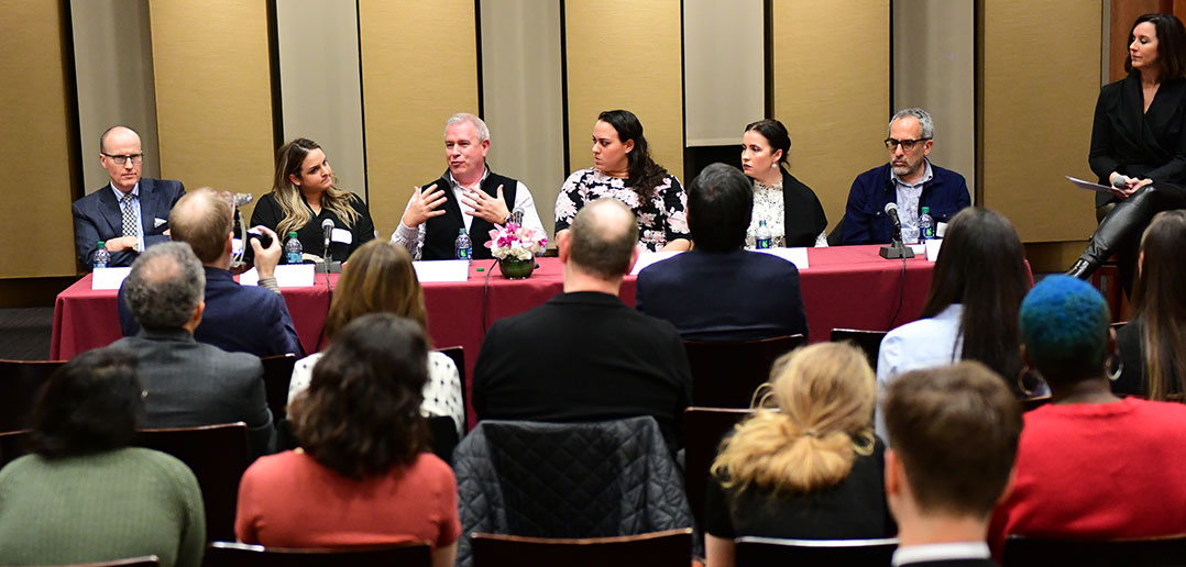 The 2019 Parent Professional Panel participants (from left): Dr. Ian Parney, Maxxie Goldstein, John Murphy, Morgan Vazquez, Ashley Fugazy, Martin Cummins, and Donna Morris