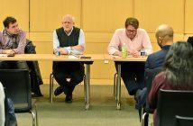 Michael Pirson, David Gautschi, Paul Johnson, and Julita Haber seated at a table at Fordham Law School