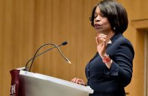 Anita Allen speaks at a podium at the Lincoln Center campus