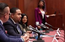 """Panelists at a Fordham alumni career workshop titled """"How to Succeed as a Diverse Candidate"""""""