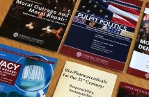 A collection of brochures advertising events held by the Center for Ethics Education.
