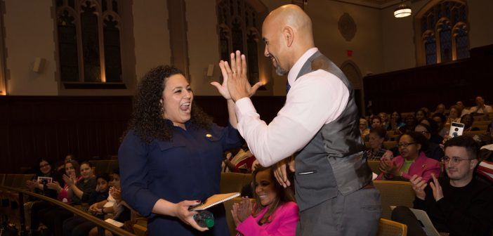 Nathalia Fernandez high-fives Ruben Diaz Jr.