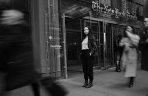 Ana Fota in front of The New York Times headquarters in Midtown