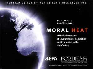 Poster for Moral Heat conference, with an illustration of the globe.