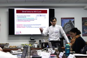 John Saucedo presents at a gathering of the HIV and Drug Abuse Prevention Research Ethics Training Institute