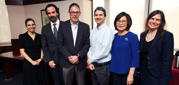 Sarit Kattan Gribetz, Aristotle Papanikolaou, George Demacopoulos, Steven Franks, Su-Je Cho and Janna Heyman pose for a picture