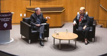 Steve Katsouros, S.J and Lidia Bastianich sit on stage at the McNally Amphitheatre at the Lincoln Center campus