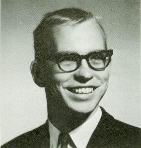 black and white head shot of Jack Kawa from the 1965 yearbook Maroon