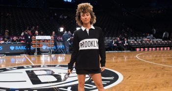 Ally Love hosting a Nets game at Barclays Center.