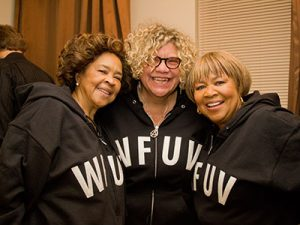 Houston with the late Yvonne Staples, left, and Mavis Staples