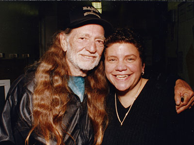 Willie Nelson with Houston at WFUV in 1998