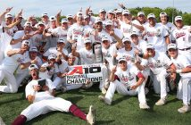 The 2019 Fordham baseball team celebrates its victory in the Atlantic 10 championship game