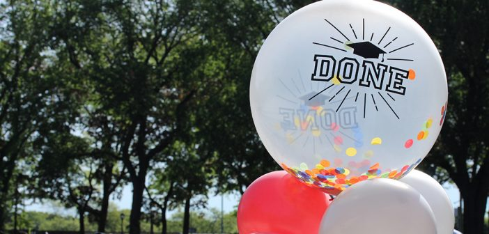 A white balloon with the word done on it
