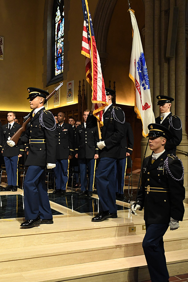 Posting of the Colors during Fordham's 2019 ROTC commissioning ceremony