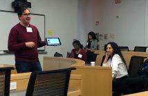 Professor Nicholas Paul showing the audience his iPad screen.